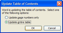 Table of Contents Update in Word
